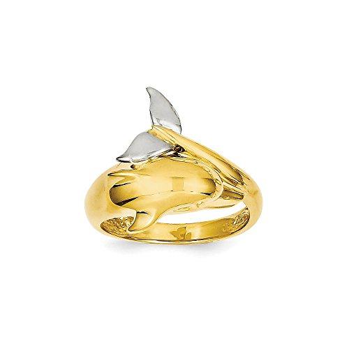 (Brilliant Bijou 14k Two-Tone Polished Dolphin Ring Size 7.5)