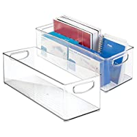 """mDesign Large Stackable Plastic Storage Bin Container, Home Office Desk and Drawer Organizer Tote with Handles - Holds Gel Pens, Erasers, Tape, Pens, Pencils, Markers - 16"""" Long, 2 Pack - Clear"""