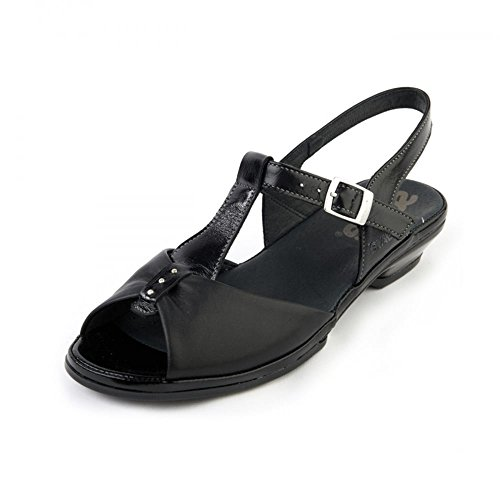 Backs Pixie Suave Sling Black Sandals Toes Peep Black Heeled Comfort wrrp0qXn