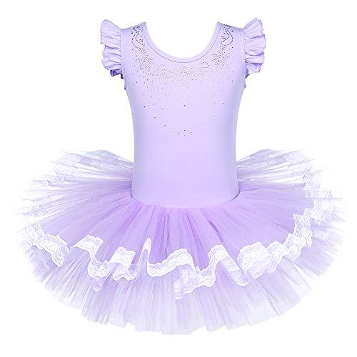 BAOHULU Leotards for Girls Ballet Dance Tutu Skirted Princess Dress 3-8 Years (Jeweled Purple, 6-7 -