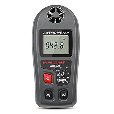 Jellas Digital Anemometer, LCD Handheld Wind Speed Meter Gauge Air Flow Velocity Measurement Wind Speed Range(0-30m/s) Fit for Outdoors Sports, Hiking, Sailing,Drone Pilot