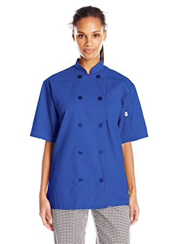 Blue Royal Ladies Thread - Uncommon Threads Unisex South Beach Chef Coat Short Sleeves, Royal, Large