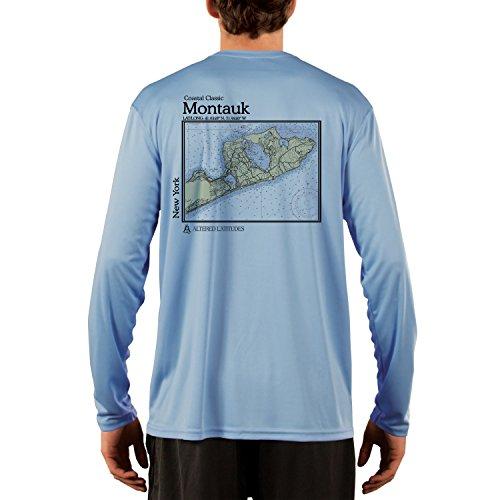 Coastal Classics Montauk Chart Men's UPF 50+ Long Sleeve T-shirt X-Large Columbia Blue