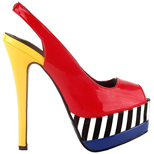 SHOW STORY Women's Red Yellow Blue Open Toe White Black Stripe Slingback Stiletto Party Pump Heels Sandals,LF80905RD38,7US,Red