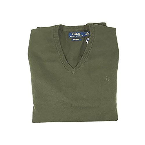 Polo Ralph Lauren Mens Pima Cotton Ribbed V-Neck Sweater Green ()