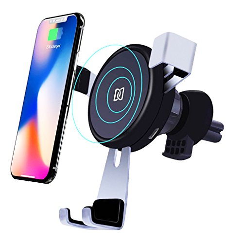 Wireless Car Charger Mount, Fast Charge for iPhone X 8/8 Plus, Samsung Galaxy Note 8, S8/S8 Plus, S7/S7 Edge, Standard Charge for All Qi Enabled Devices, BlueSN Gravity Car Air Vent Phone Holder