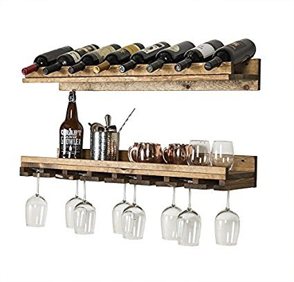 del Hutson Designs - Rustic Luxe Tiered Wine Rack, USA Handmade, Pine Wood (Dark Walnut) by del Hutson Designs