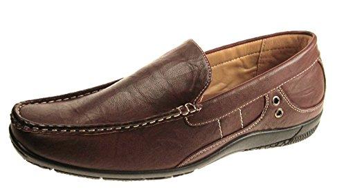 Brickers Homens De Couro Falso Sapatos Vestido Do Escritório Festivo Lazer Deslizador Sz 6-12 - Marrom, 40