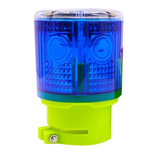 - Aolyty Solar Strobe Warning Light 360 Degree Super Bright Waterproof IP48 for Construction Traffic Dock Marine Wireless Light Control Flashing (Blue)