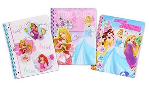 Licensed Character Spiral Notebook 3 pc Set (Disney Princess)