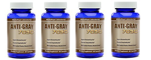 Anti-Gray Hair 7050 60 Capsules Per Bottle (4 Bottles) by MaritzMayer Laboratories