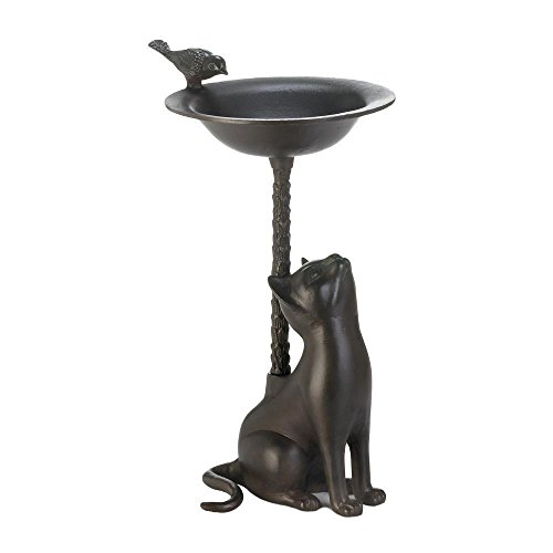 K&N41 Outdoor Décor Brown Aluminum Birdbath Cat Looking up at Perched Bird Garden Yard Patio Home Decor