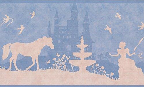 Princess Castle Horse Beige Cerulean Blue Wallpaper Border Kids Design, Roll 15' x 9