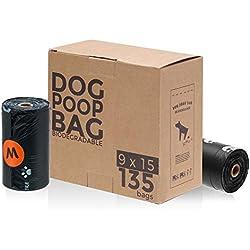 MUFEI Dog waste bags Vegetable-based Biodegradable Dog Poop Bag 9 Refill Rolls/135-Count