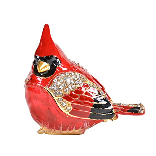 MICG Bird Trinket Box Metal Enameled Animal Figurine Collectable Wedding Jewelry Ring Holder Organizer (Red Head)