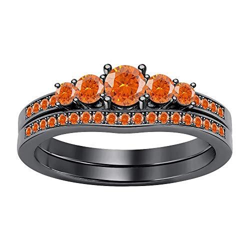 - SVC-JEWELS 1.12Ctw 5-Stone Round Cut Orange Sapphire 14K Black Gold Plated Engagemet Bridal Wedding Ring Set for Women's