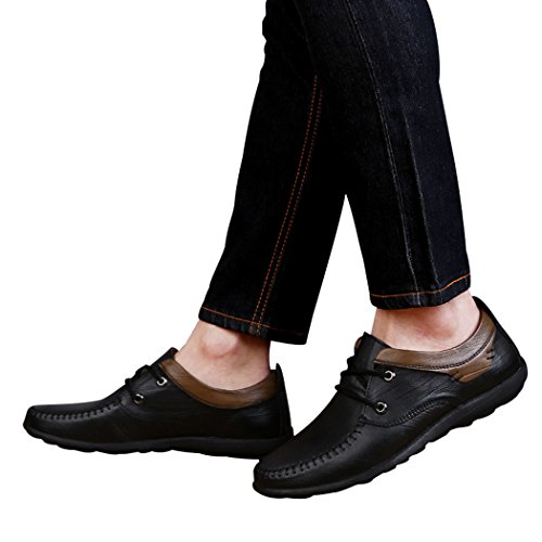 Pik & Clubs Herren-Slipper aus Echtem Leder, modisches Casual, einzigartige personalisierte Loafer, trendy, mit 2Ösen und Senkel, Flache Schuhe, Schwarz - schwarz - Größe: 40.5