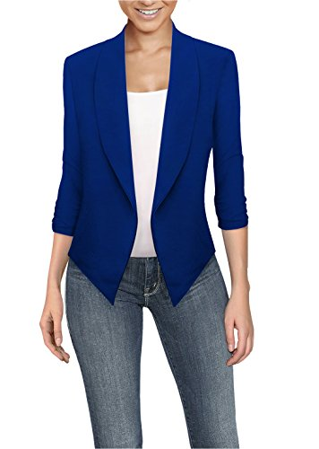 Womens Casual Work Office Open Front Blazer JK1133X Royal 3X