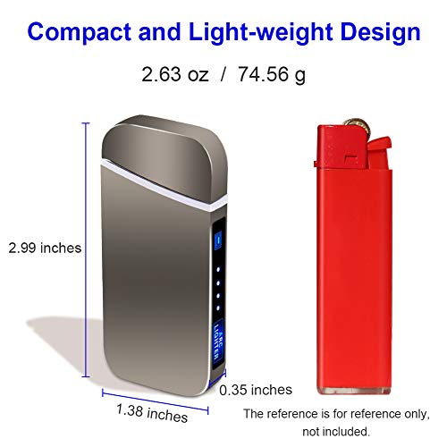 Electric Lighter Rechargeable USB, USB Lighter with Dual Arc, Electric Lighter, Flameless Windproof Rechargeable Lighter for Camping Hiking Outdoor Adventure, LED Battery Indicator