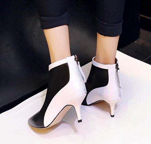 GTVERNH-Otoño Invierno, Zapatos De Mujer De Cuero Cosido En Blanco Y Negro Fino Y Botas De Tacón Alto Y Botas De Punta Negra Desnuda 36 36