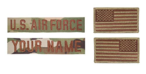 USAF Spice Brown OCP Name Tape and Flag Bundle (HOOK FASTENER NAME TAPES)