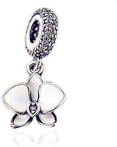 BAKCCI Sommer-weiße Orchidee zum Aufhängen, 925er Silber, für  Pandora-Armbänder, Modeschmuck
