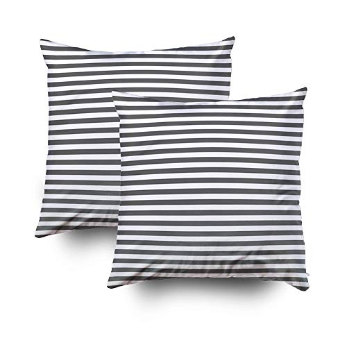 Capsceoll 2PCS charcoal gray and white nautical stripes Decorative Throw Pillow Case 20X20Inch,Home Decoration Pillowcase Zippered Pillow Covers Cushion Cover with Words for Book Lover Worm Sofa Couch