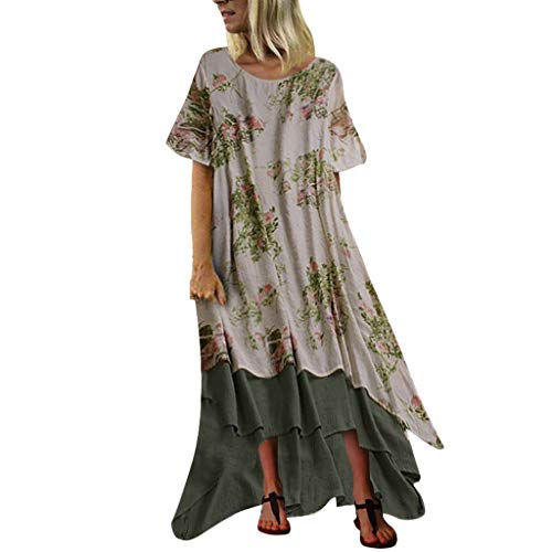 Multi-Style Dress Sales NRUTUP Summer Women Vintage Sleeveless O Neck Plus Size Bohemian Print Plaid Maxi Dress Beach