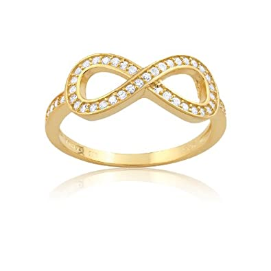 Sterling Silver Gold-Plated Infinity Figure 8 CZ Ring Available in sizes 5 – 6 – 7 – 8 – 9 – 10