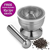 Apothecary's Grinder | Indestructible Non Toxic Stainless Steel Mortar and Pestle for Crushing / Grinding, Ergonomic Design with Anti Slip Base and Comfy Grip, Dishwasher Safe Series, Sleek Silver by Apothecary's Grinder