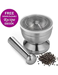 18/8 Stainless Steel Mortar and Pestle Spice Grinder with Lid for Crushing Grinding Ergonomic Design with Anti Slip Base and Comfy Grip   Grind Herbs Nicely   Silver