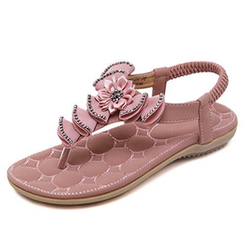 Ruiren Women Bohemian Flower Flat Sandals,Summer Flip-Flops Shoes for Ladies Pink