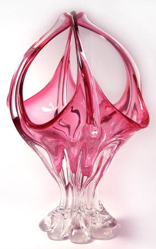 Hand Blown Murano Cranberry Vase with Certificate C09