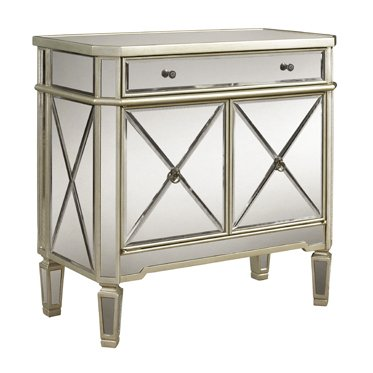 Powell Mirrored 1-Drawer, 2-Door Console ()