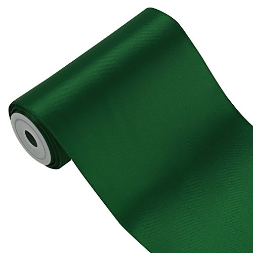 LaRibbons 4 inch Wide Solid Color Double Face Satin Ribbon Great for Chair Sash- 5 Yard/Spool - Dark 4 Inch Green