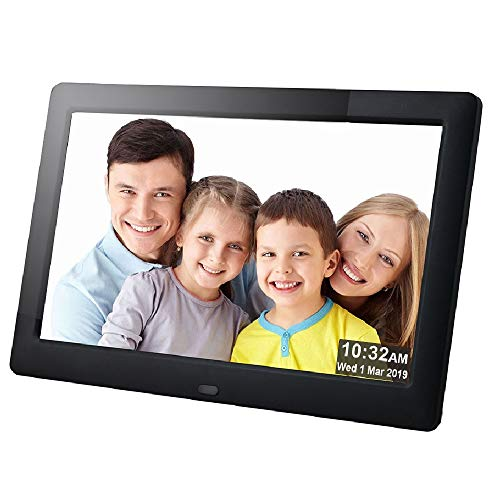 Digital Picture Frame 8 Inch 1080P IPS Electronic Photo Frames Full Angle 1280x800 HD USB SD/SDHC Present for Wedding Birthday Christmas-Black ()