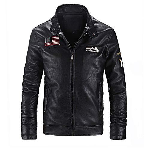 (Realdo Mens Motocycle Jacket Clearance, American Flag Solid Stand Zipper PU Leather Jacket Top(Medium,Black))