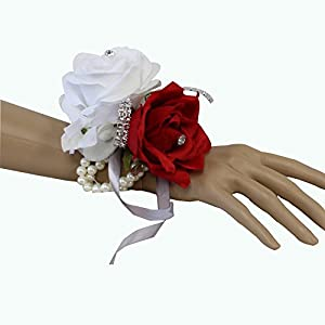 Angel Isabella Wrist Corsage-Beautiful Handmade Wrist Corsage Keepsake Artificial Roses 40+Colors (White/red) 94