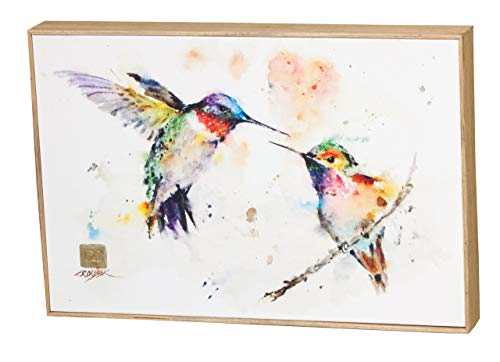 DEMDACO The Lovebirds Hummingbirds Wrapped Canvas Print 8 x 12 Ash Wood Framed Wall Art ()