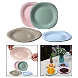 OFKPO 4 PCS Children Plates, Wheat Straw Fiber BPA Free Dinner Plate Tableware