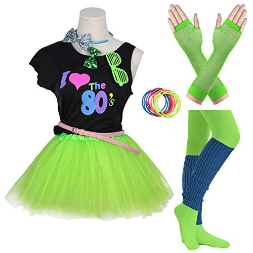 FUNDAISY Gilrs 80s Costume Accessories Fancy Outfit Dress for 1980s Theme Party Supplies (Green, 10-12 Years)