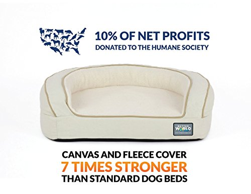 Better World Pets Super Comfort Bolster Dog Bed :: Waterproof Memory Foam Pet Bed with Durable Canvas Cover, Extra Plush Fleece + Foam Bolsters :: 4 Inch Thick, Washable, Small, White Sand by by Better World Pets (Image #4)