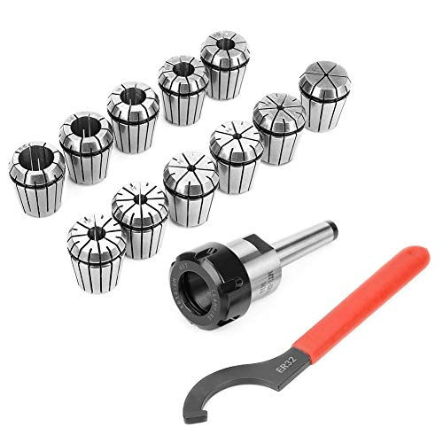 8in Wrench Spring Collet Kit ER32 Collet Chuck Collets Holder Wrench Kit for Milling Machine with MT2 Shank Handle Holder Milling Lathe Tool