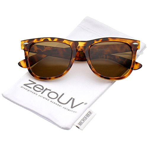 zeroUV - Retro Wide Temple Polarized Lens Square Horn Rimmed Sunglasses 55mm (Orange-Tortoise / Brown Polarized)