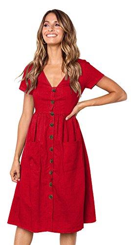 Longwu Vestido a Media Pierna con Cuello en V y Manga Corta Casual con Cuello en V para Mujer y Bolsillos Women Dress Rojo