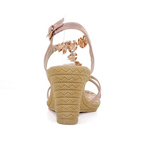 Amoonyfashion Donna Materiale Morbido Fibbia Open Toe Tacchi Zeppe-sandali Rosa