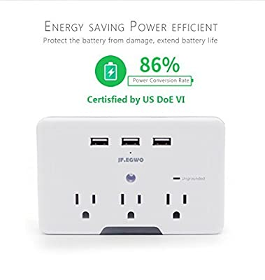 JF.EGWO 3 USB Outlet Surge Protector Wall Mount Socket with 3 AC Charging Ports, UL Listed, White
