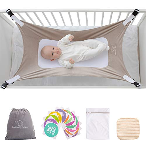 Buddies & Babies Baby Crib Hammock - Hanging Bed on Bassinet for Newborns - Mimics Womb - Best Portable Fabric Sleeping Cradle with Mesh Support and Adjustable Straps - Great Baby Shower Gift Gray