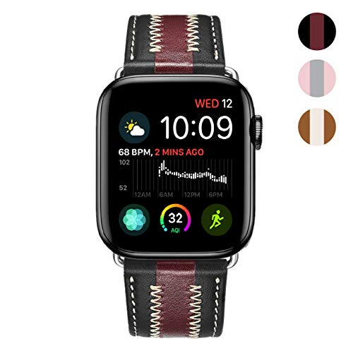 (KADES Compatible for Apple Watch Band, Premium Leather Replacement Band Compatible for Apple Watch Series 4 40mm & Series 3/2/1 38mm, [Special 2-Tone Style] Black/Wine Red)