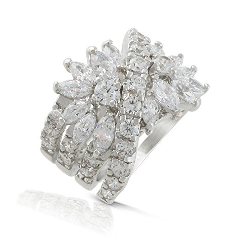 JanKuo Jewelry Rhodium Plated Marquise Cubic Zirconia Floral Cocktail Wide Band Ring